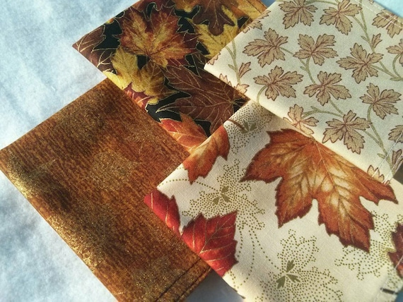 Fall Thanksgiving Cocktail Napkin Set - Warm Rustic Fall Thanksgiving Cloth Reusable Washable Cotton (Leaves in Fall Hues)- Set of 4