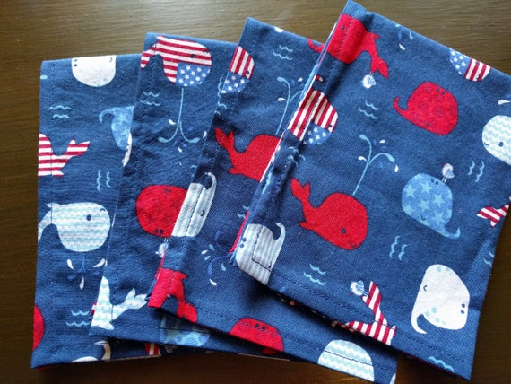 SALE!! 4th of July Independence Day Napkins - Red, White & Blue Whales (Washable, Reusable, 100% Cotton) Choose Your Amount!!!!
