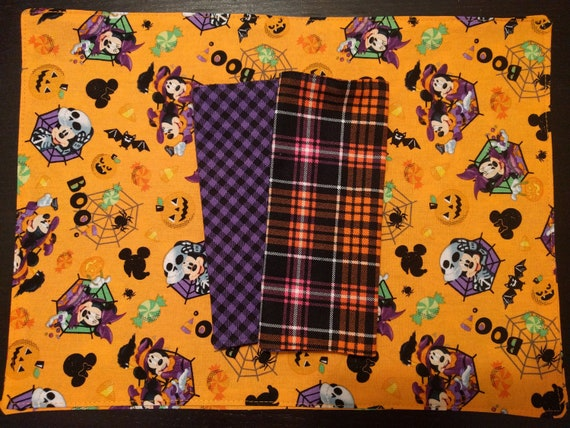 Mickey Mouse Halloween Place Mat & Napkin Set - Reversible, Washable, Reusable (Includes Reversible Coordinating Napkin!!!)
