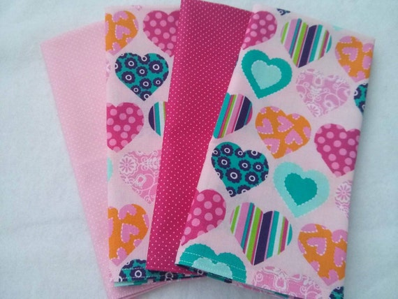 Valentine's Day Set of Washable, Reusable Cloth Napkins (Variety of Coordinating Pink Prints in Polka Dots and Hearts) - Set of 4