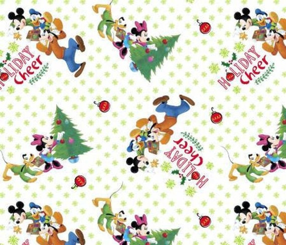 Drawstring Cinch Gift Bags Cloth Reusable Mickey Mouse Christmas - 2 Different Prints!