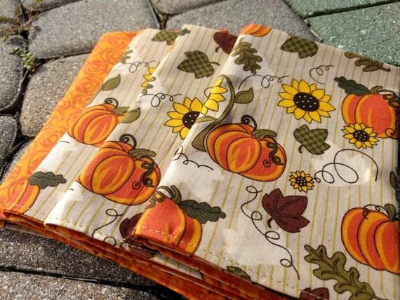 Fall Thanksgiving Napkin Set - Rustic Fall Reversible Cloth Reusable Washable Cotton  (Pumpkins and Orange Swirl)- Set of 4