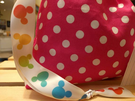 Cloth Reusable Gift Cinch Bag Pink with White Polka Dots - Disney Ears Ribbon!