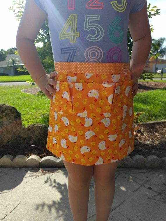Egg Collecting Apron One Size Kids - Collecting Multi Purpose Egg Harvest Farm Apron in Orange/Yellow/White Chicken &N Polka Dot Prints