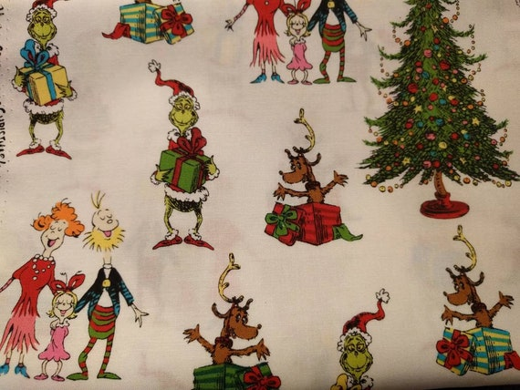 Christmas Holiday Drawstring Cinch Gift Bags Cloth Reusable How the Grinch Stole Christmas - Different Sizes to Choose From!