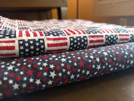 4th of July Independence Day Reversible Napkins Set of 4 - Red, White, Blue Stars & Stripes (Washable, Reusable, 100% Cotton)