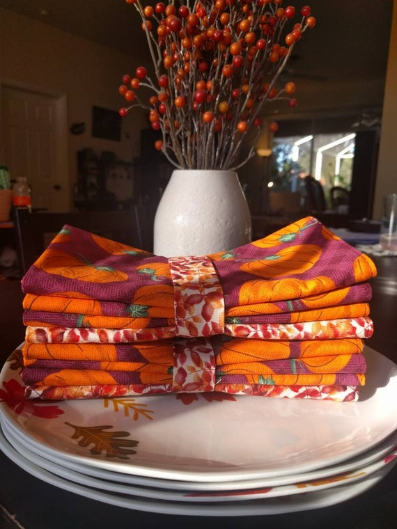 Fall Dinner Napkins - 100 Percent Cotton Cloth Washable Double Sided - Rustic Pumpkins & Leaves in Autumn Hues Set of 4