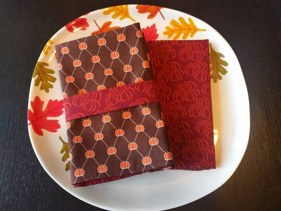 Fall Thanksgiving Napkin Set - Rustic Fall Reversible Cloth Reusable Washable Cotton  (Burgundy, Orange & Brown Pumpkins)- Set of 4
