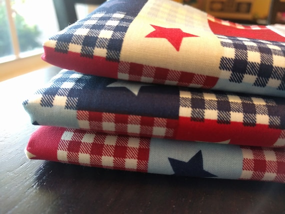 "Fourth of July Independence Day July 4th Picnic Plaid Stars Red White Blue Reusable Washable Cotton Napkins (16"" x 16"") Set of 4"