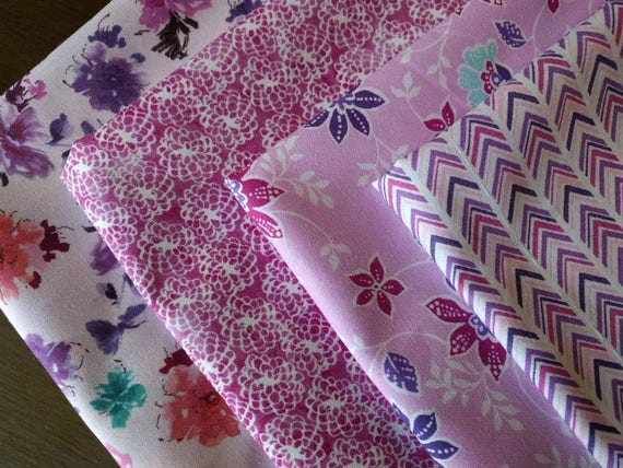 Floral  Napkins Set of 4 - Florals in Pinks and Purples (Washable, Reusable, 100% Cotton)
