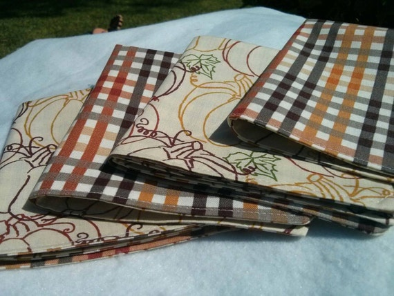 Fall Thanksgiving Cocktail Napkin Set - Fall Reversible Cloth Reusable Washable Cotton (Gorgeous Pumpkins and Plaid in Fall Hues)-Set of 4