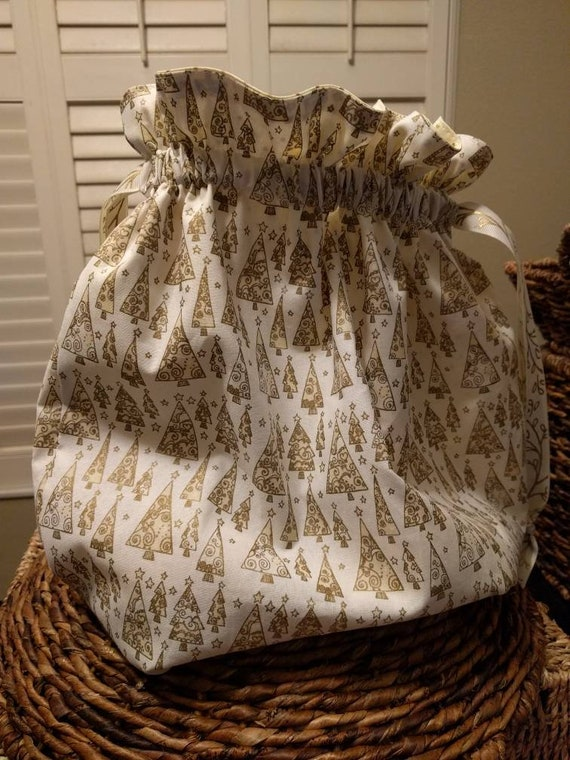 Drawstring Gift Cinch Cloth Reusable Bag Christmas Trees - White, Cream and Gold Different Sizes to Choose From!!