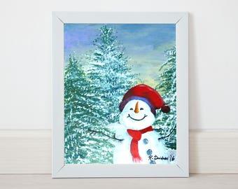 winter themed baby shower colorful snowman art snowman wall art snowman painting christmas snowman winter themed nursery gifts under 25