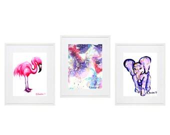 baby girl nursery decor pink purple flamingo abstract elephant art prints Set of 3 baby shower ideas baby shower gift nursery art gift ideas