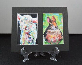 """nursery art paintings matted wall art ready to frame nursery decor print 8x10"""" mat / two (2) 4x6"""" prints gifts under 15"""