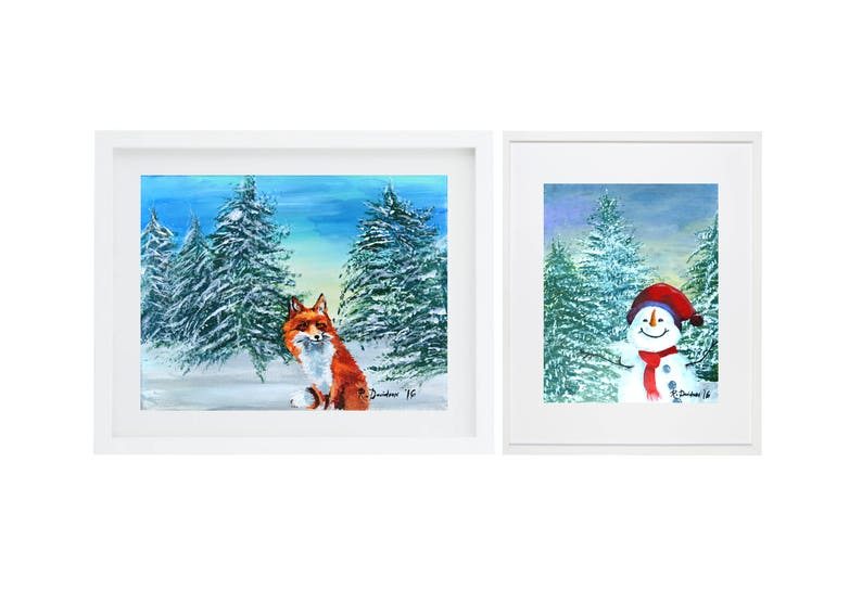Set of 2 colorful fox art print colorful snowman wall art image 0