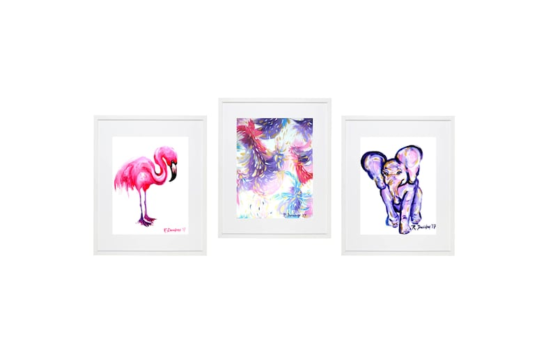 baby girl nursery decor pink purple flamingo abstract elephant image 0