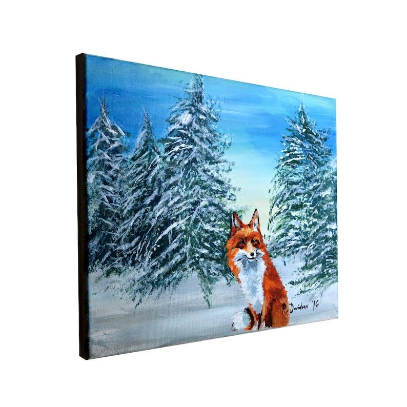 Colorful Fox Canvas Wall Art  Fox Painting Canvas  Snow Fox image 0