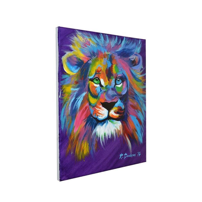 Colorful Lion Art Painting  Lion Art Canvas Wall Art   Lion image 0