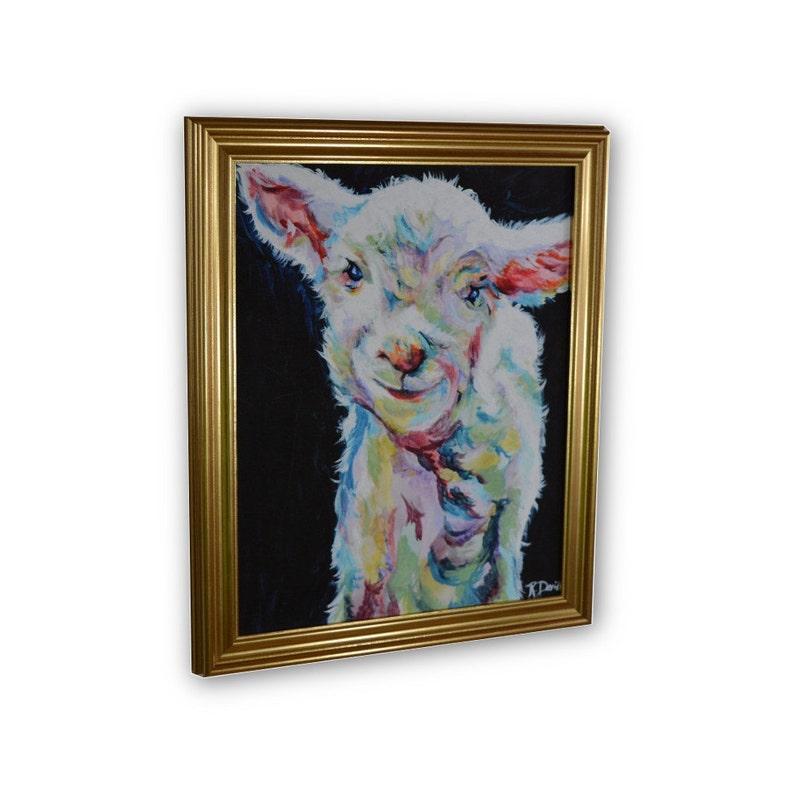 Lamb Theme Framed Canvas Art  Wall Art  11x14 image 0