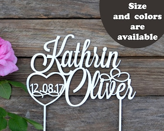 Name Cake Topper Wedding Custom Cake Toppers for wedding Personalized Wedding Data Gold Silver Glitter