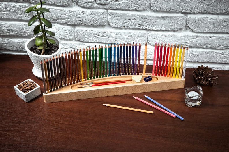 Colored pencils holder free personalization painter gift image 0