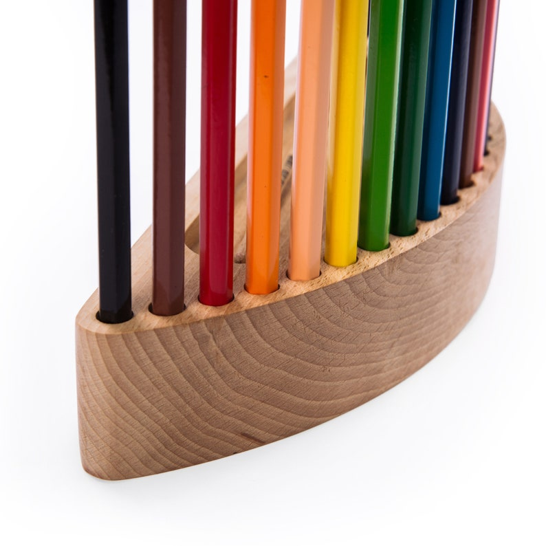 kids gift unique wooden colored pencils holder gift set Gift for a beginner artist gift for painter free personalization birthday gift