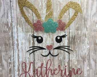 Easter Unicorn with name Iron on Decal/ Easter Unicorn Iron on/ Glitter or Non-glitter Unicorn/ DIY Personalized Easter Unicorn Tee