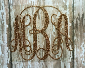 Monogram Iron on Decal/ Glitter or non- glitter Iron on Decal/ Glitter Monogram/ Bridal Party Monograms/ Bridal Party Gifts