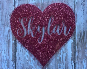 Heart with Name Iron on decal, Heart Nick name iron on decal, Personalized Iron on Glitter or Non Glitter Decal, Mrs. Iron on Decal w/ heart