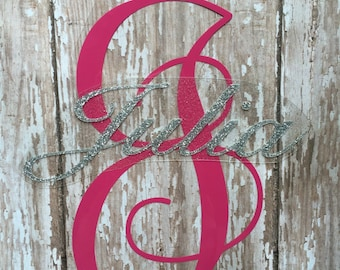 Name with monogram letter iron on decal/ DIY Baby Onesie/ DIY Girl shirt