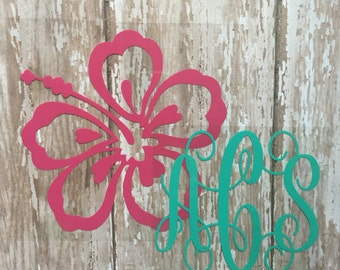 Hibiscus Flower Monogram Iron on Decal/ DIY Hibiscus Monogram Shirt/ DIY Hibiscus Monogram Baby Outfit/ DIY Hibiscus Monogram Tank