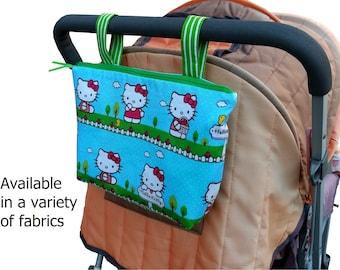 Pram caddy - pram organiser - mini wet bag - stroller organiser - stroller caddy - diaper bag - Hello Kitty