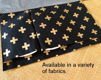 nappy wallet // diaper wallet // nappy clutch // diaper clutch with waterproof change mat - Black with Golden Crosses