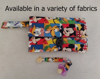 nappy wallet and pacifier strap / diaper wallet / nappy clutch / diaper clutch with waterproof change mat /Disney Theme/Mickey mouse