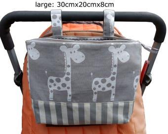Pram caddy with zipper / pram organiser / mini wet bag / Makeup Bag - gray with white giraffe