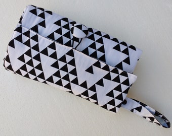 Nappy wallet - Nappy Wallet with waterproof Change Mat- diaper clutch- three or two pockets-black triangles on white