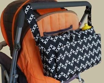 wheelchair bag organiser-pram caddy - stroller organiser -shoulder bag- pram bag - pram organiser - Black with White Crosses