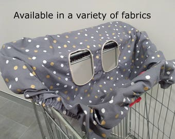 ON SALE:Shopping trolley cover/trolley cart liner/high chair cover/shopping cart cover-Single or double seat- Multiple patterns available!