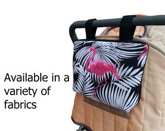 Pram caddy with zipper - pram organiser - mini wet bag - stroller organiser - stroller caddy - diaper bag - flamingos