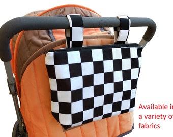 Pram caddy with zipper - pram organiser - mini wet bag - stroller organiser - stroller caddy - diaper bag - black and white SQ