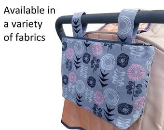 Pram caddy with zipper - pram organiser - mini wet bag - stroller organiser - stroller caddy - diaper bag - Multiple patterns available!