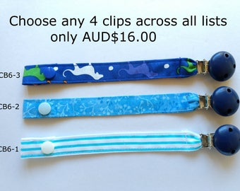 Cotton Strap Pacifier Clip // Blue Wooden Pacifier Clip // dummy clip with strap // baby pacifier clip