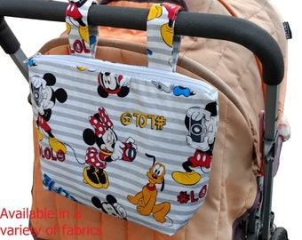 Pram caddy with zipper - pram organiser - mini wet bag - stroller organiser - stroller caddy - diaper bag - Mikcy