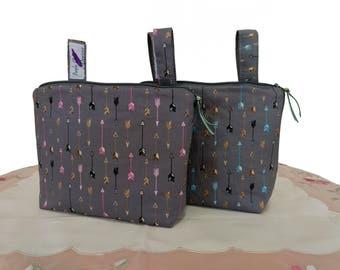 Pram caddy with zipper - pram organiser - mini wet bag - stroller organiser - stroller caddy - diaper bag - poplin arrows