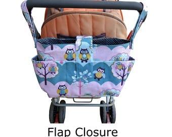 pram caddy - Owl Themed stroller organiser -shoulder bag-wheelchair bag organiser- Owl pram bag - Owl Themed pram organiser
