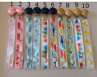 Ribbon Strap Pacifier clip // Wooden pacifier clip // dummy clip with strap // baby pacifier clip