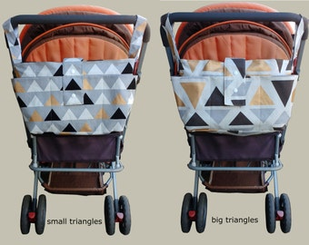 stylish pram caddy -wheelchair bag organiser- stroller organiser - pram bag - pram organiser-new mother gift - multicolour triangles