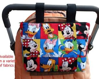 Pram caddy - pram organiser - mini wet bag - stroller organiser - stroller caddy - diaper bag - Disney Theme