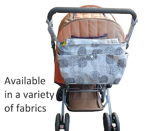zipped pram caddy - wheelchair bag-stroller organiser - shoulder bag-double pram organiser - pram organiser -Multiple patterns available!